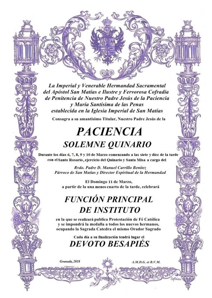 Cartel Quinario 2018